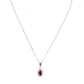 Ciondolo margherita oro, rubino -0.60 ct- e diamanti -0.22 ct- 1.9 cm x 0.8 cm - 44 cm; 2 gr