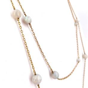 Collana catena oro e opali - 23 gr; 135 cm