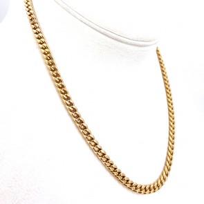 Collana catena unisex oro, maglia groumette - 50 cm; 22 gr