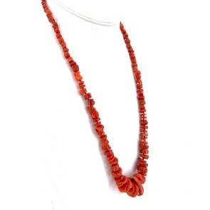 Collana corallo rosso etnico, a scalare 4-24 mm e argento - 58 gr; 66 cm