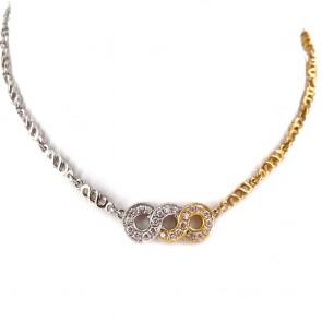 Collana oro bicolore e infinito triplo di diamanti
