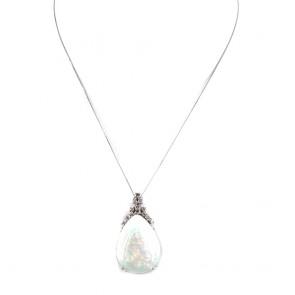Ciondolo oro, maxi - 3.6 cm x 2 cm- con goccia opale - 28-30 ct e diamanti - 0.28-0.30 ct. 9.72 gr.