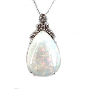 Ciondolo oro, maxi - 3.6 cm x 2 cm- con goccia opale