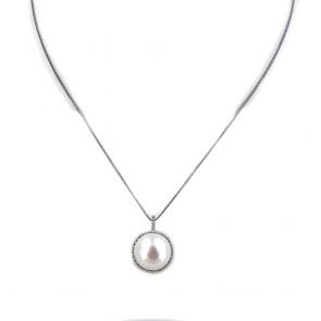 Ciondolo oro, perla d'acqua dolce - 13 mm - e zirconi; 5.63 gr