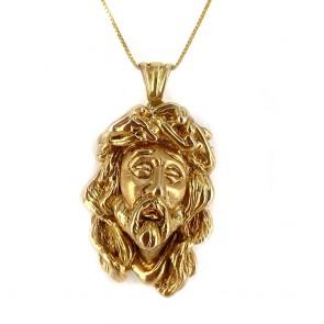 Ciondolo scultura Volto di Cristo oro