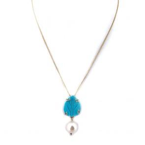 Ciondolo oro, perla -11 mm- e pasta di turchese; 3.7 cm - 4.07 gr