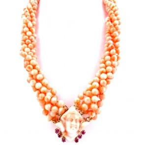 Collana torchon a 6 fili di corallo rosa,