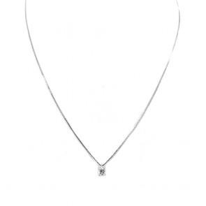 Ciondolo punto luce oro e diamante solitario - 0.16 ct; 1.40 gr