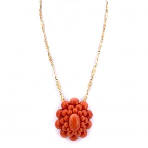 Ciondolo maxi fiore corallo e losanghe oro