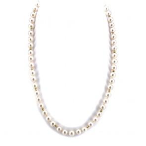 Collana da 52 cm di perle giapponesi - 7-7.5 mm- con chiusura e microboulle in oro; 40.52 gr