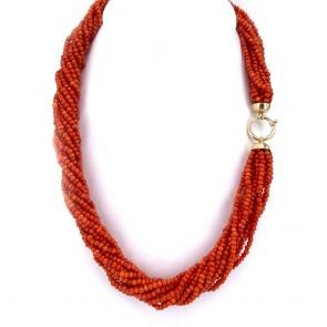 Collana torchon a 12 fili di corallo rosso