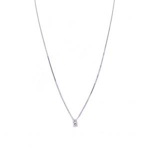 Ciondolo punto luce oro e diamante solitario - 0.20 ct; 1.54 gr