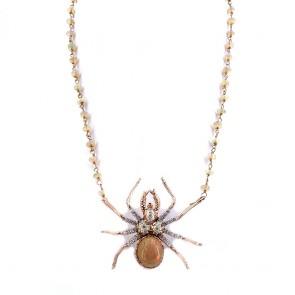 Ciondolo/collier maxi ragno, oro, opali - 16 ct-  e diamanti -0.60 ct; 16.79 gr