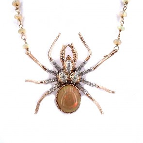 Ciondolo/collier maxi ragno, oro, opali