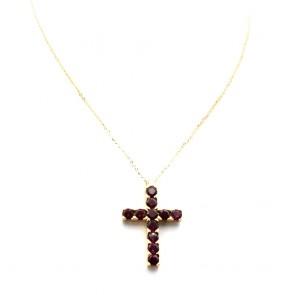 Ciondolo croce oro e tormaline - 4 cm x 2.7 cm; 7.8 gr.