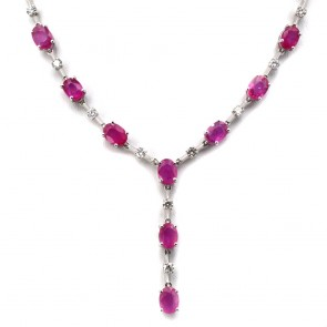 Collier oro, rubini - 12.8 ct - e diamanti -