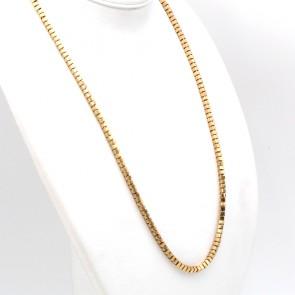 Collana catena oro, maglia cubetti - 69 cm; 43 gr
