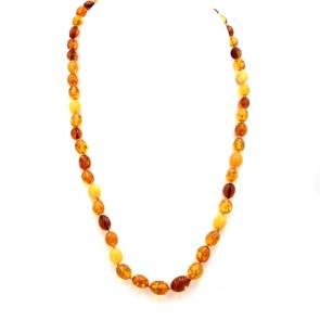 Collana ambra tricolore a olive irregolari, a scalare