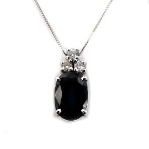 Ciondolo oro, zaffiro -1.80-2.00 ct- e diamanti -