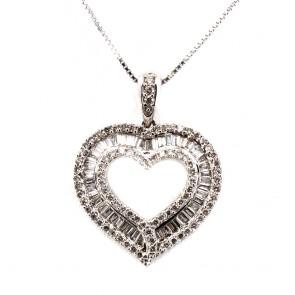 Ciondolo punto luce cuore, oro e diamanti
