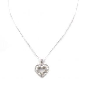 Ciondolo punto luce cuore, oro e diamanti - 1.6-1.7 ct; 2.98 gr