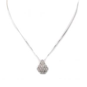 Ciondolo punto luce goccia, oro e cascata diamanti - 0.95-1.10 ct; 2.7 gr