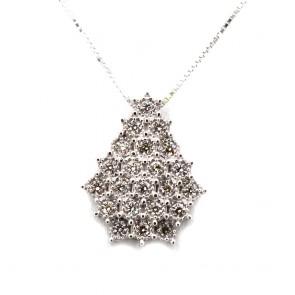 Ciondolo punto luce goccia, oro e cascata diamanti