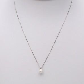 Ciondolo oro, perla giapponese - 6-6.5 mm - e diamante - 0.03 ct; 1.2 gr