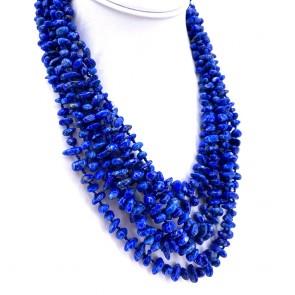 Collana multifilo blue spot stone, 4-11 mm.  193.6 gr; 48 cm