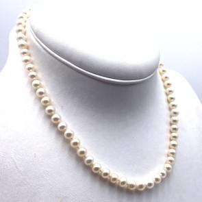 Collana da 47 cm di perle giapponesi - 6.5 mm- con chiusura moschettone in oro; 28.92 gr