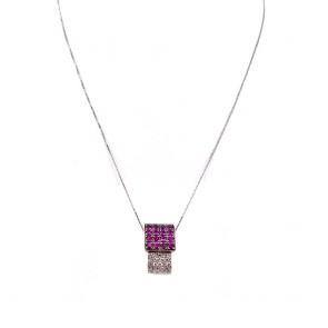 Ciondolo geometrico, oro, rubini - 0.8-1.0 ct - e diamanti - 0.35-0.45 ct; 6 gr