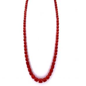Collana di corallo rosso, barilotti a scalare
