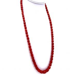Collana di corallo rosso, barilotti a scalare -7-12 mm- e oro - 72 gr; 72 cm