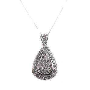 Ciondolo goccia oro e diamanti - 1,20-1,30 ct; 10 gr