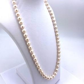 Collana perle - 10.5 mm -  e oro. 70 cm; 91 gr.