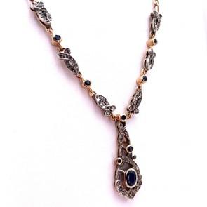 Collana in stile oro, zaffiri - 1.30-1.50 ct e diamanti - 0.30-0.40 ct; 19.19 gr