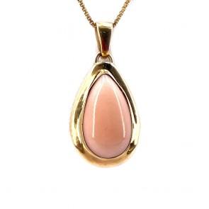 Ciondolo goccia  corallo rosa e oro