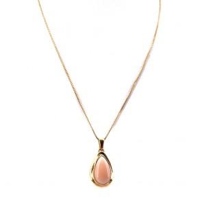 Ciondolo goccia  corallo rosa e oro, 3.10 gr