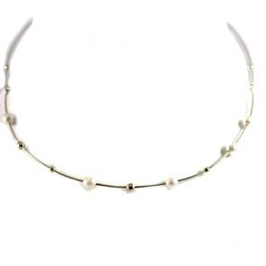Collana/collier rigido in oro con perle d'acqua dolce da 6-6,5 mm - 4o cm; 9,7 gr