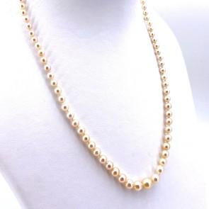 Collana da 49 cm di perle giapponesi - 3-7 mm- chiusura oro; 14.23 gr