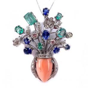 Ciondolo vaso capolavoro oro, corallo, smeraldi, zaffiri e diamanti