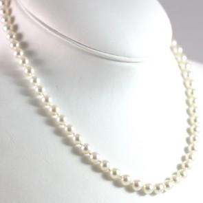 Collana di perle di mare coltivate - 6,5-7 mm- di mare e oro -31,4 gr; 49 cm