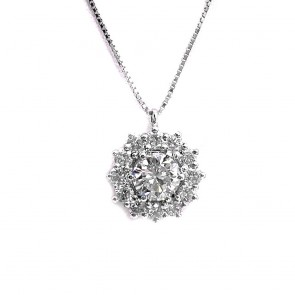 Ciondolo punto luce margherita circolare oro solitario e diamanti