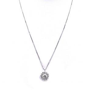 Ciondolo punto luce margherita circolare oro solitario e diamanti - 1.20 ct + 0.70-0.72 ct; 3.97 gr