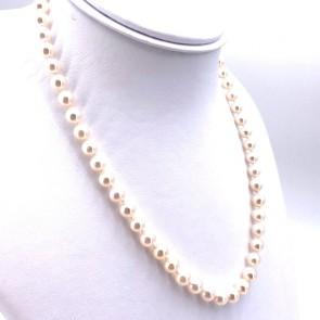 Collana da 45 cm di perle giapponesi - 6.5-7 mm- chiusura oro bianco; 27.52 gr