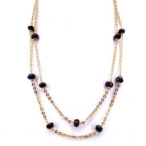 Collana, catena in stile oro e granati -
