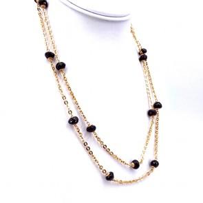 Collana, catena in stile oro e granati - 38.22 gr; 100 cm