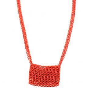 Collana lunga con borsetta di corallo - 80,6 gr