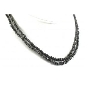 Collana oro e diamanti grezzi neri - 42 cm; 70 ct; 14,6 gr -