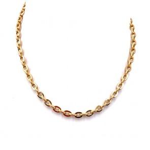Collana catena oro, maglie ovali lucido/puntinato